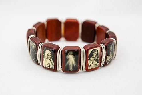 Jesus and Mary Wood Bracelet