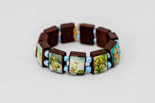 Children's Saints Wood Bracelet with blue beads