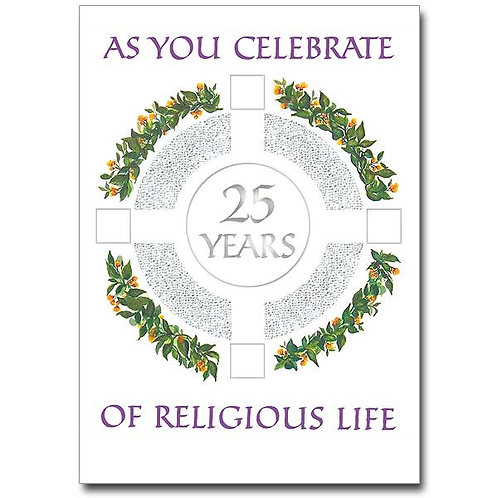 As You Celebrate 25 Years of Religious Life/Profession Anniversary Card