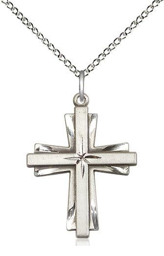 "Sterling Silve Cross Pendant on 18"" Chain"