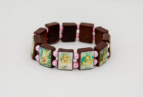 Children's Guardian Angels Wood Bracelet with pink beads