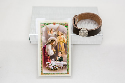 Boys Communion Bracelet Set, Brown or Black