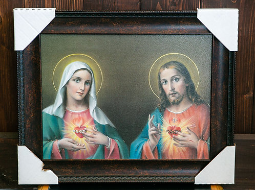 Immaculate Heart of Mary and Sacred Heart of Jesus, Framed