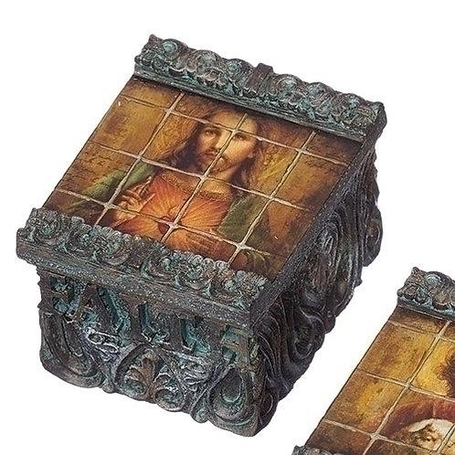 Tile Art Sacred Heart Keepsake Box