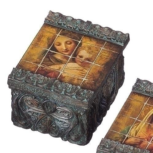 Tile Art Madona & Child Keepsake Box