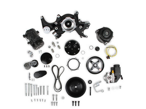 Small Block Chevy Mid-Mount Complete Accessory System- Black Finish