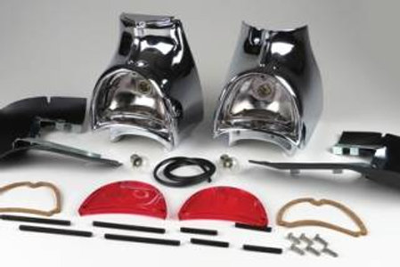 1957 Chevy Chrome Taillight Housing Assemblies Complete Pair