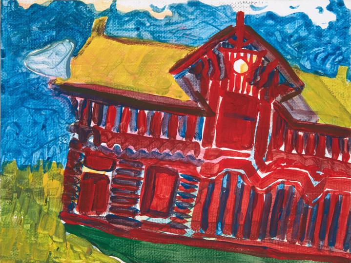 barn ghost, tempera on canvas, 2020