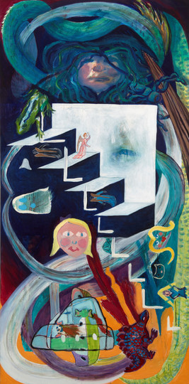 Evolution of Medusa (Jacob's ladder 2, Evolution Extinction), oil and flash on canvas