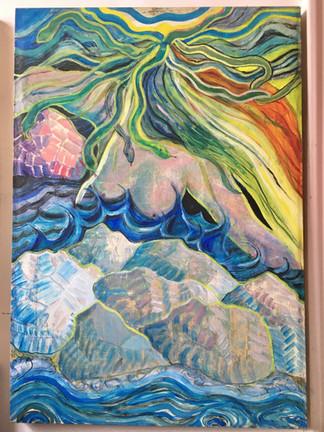 Medusa at Sunset, oil on canvas, 2020
