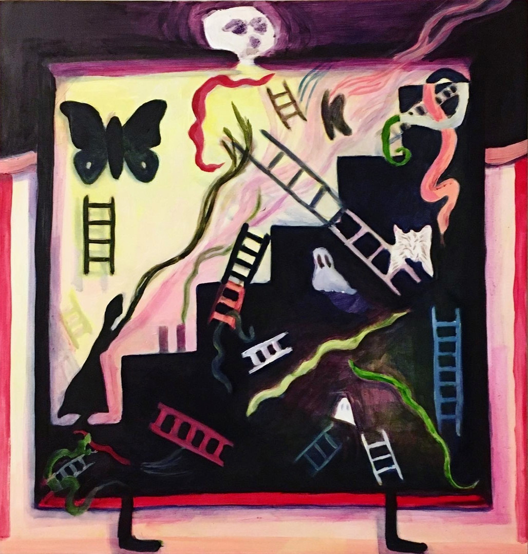 Boxed (snakes and ladders), oil on panel, 2020