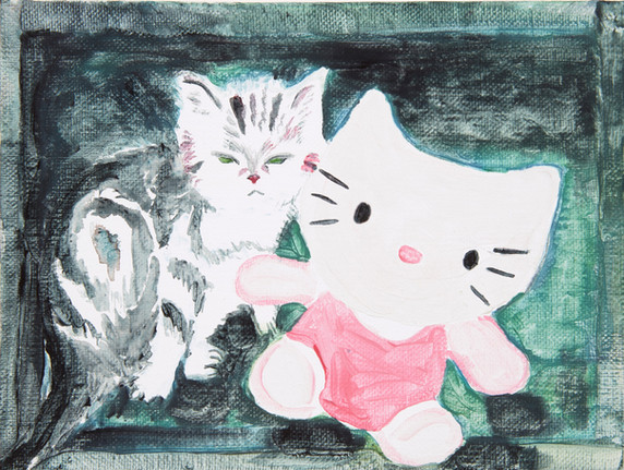 Cat and cat, tempera on canvas, 2020