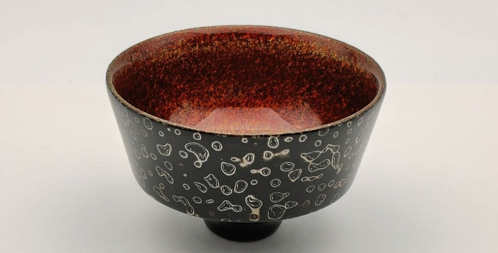 Lacquer Wooden Cup - Black colour with Silver Leaf