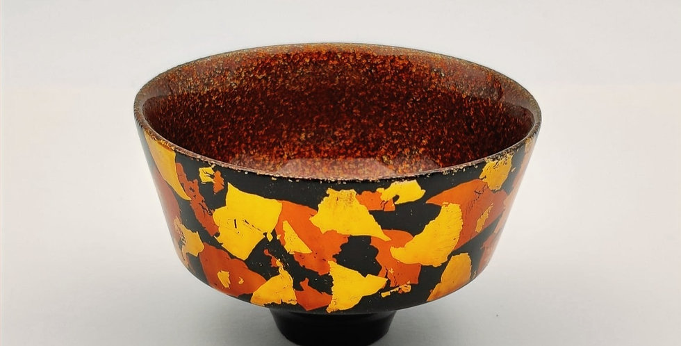Lacquer Wooden Cup with Gold Leaf