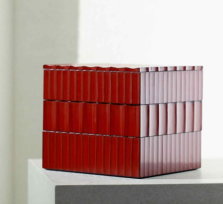 Three-stacked Carved-wood Squared Box Set in Red