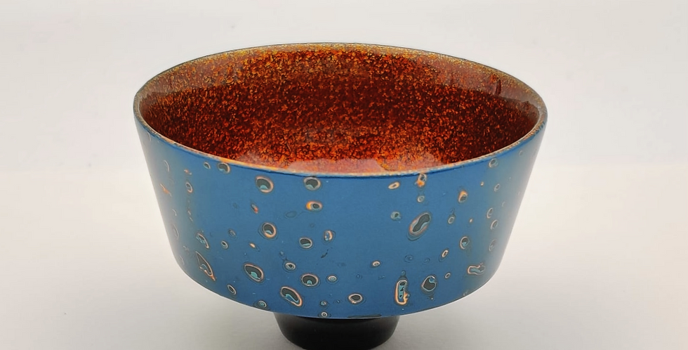 Lacquer Wooden Cup - Blue colour with Gold Leaf