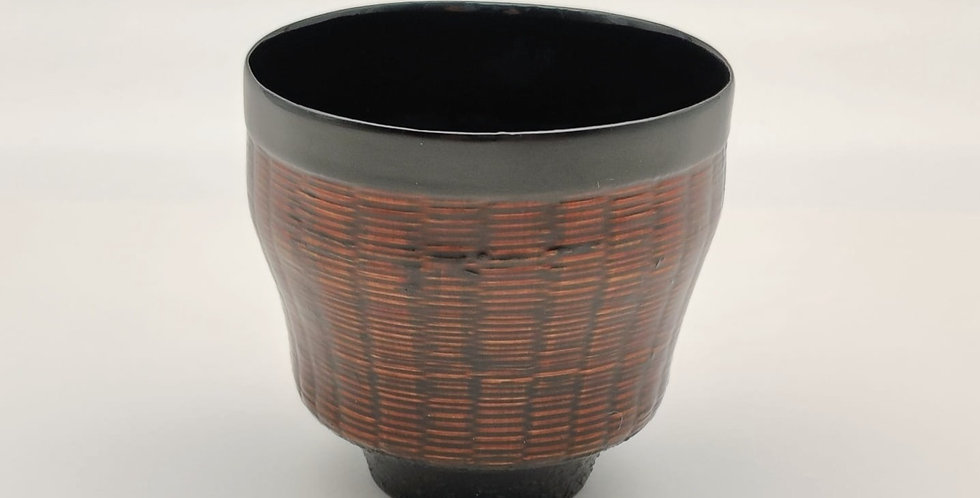 Lacquer Bamboo-weaved Cup, Round-shaped, Brown