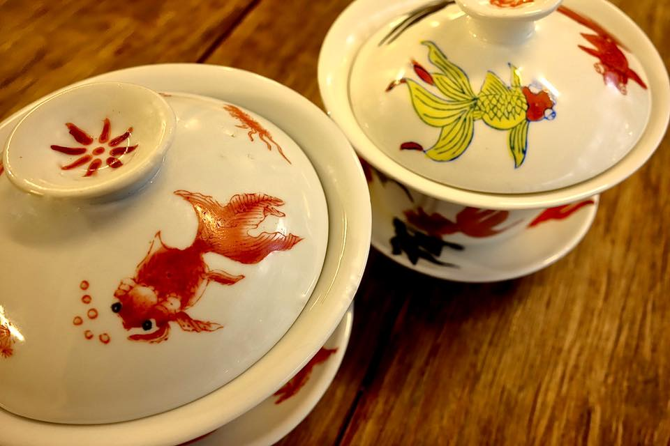 Chinese covered teacup sets with motif of goldfish