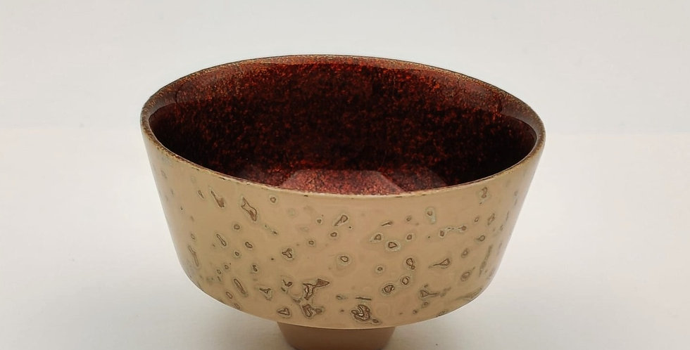 Lacquer Wooden Cup - Eggshell colour with Gold Leaf