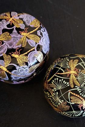Dragonflies & Lilac Fairy circular box, Dragonflies & Green Meadow circular box