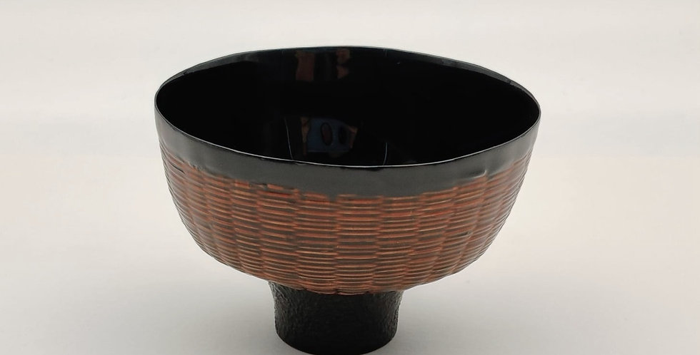 Lacquer Bamboo-weaved Cup, Flat-round-shaped, Brown