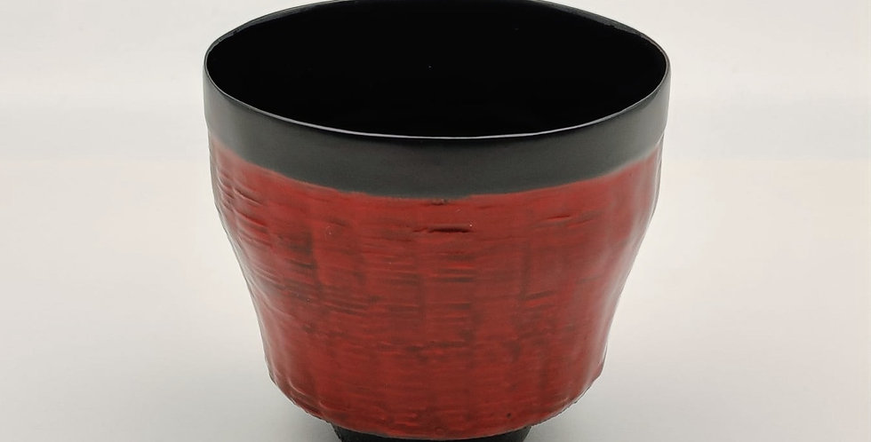 Lacquer Bamboo-weaved Cup, Round-shaped, Red