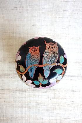 Owls on Pink Flowers tea caddy