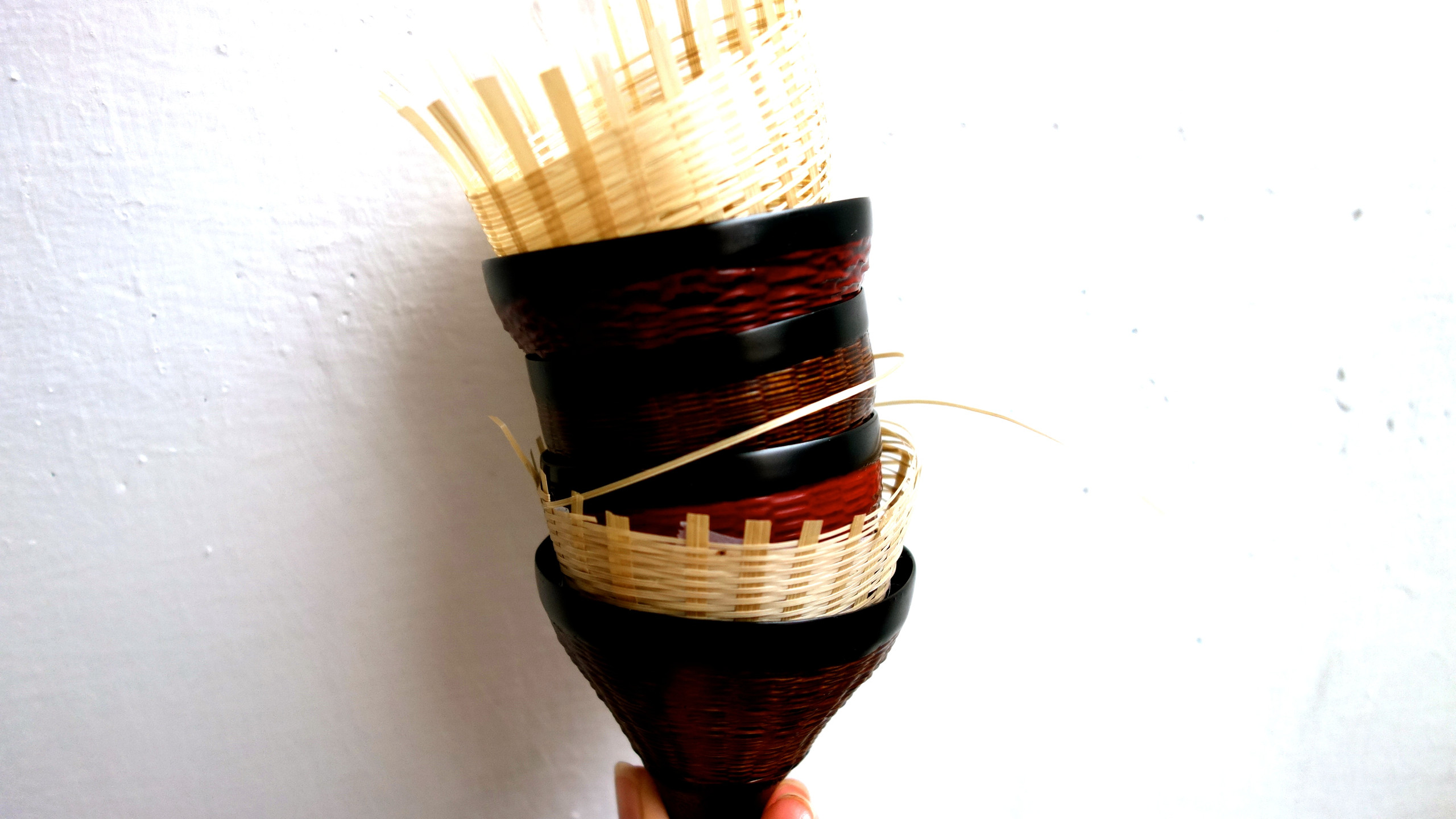 Bamboo Weaved Lacquer Tea Cups
