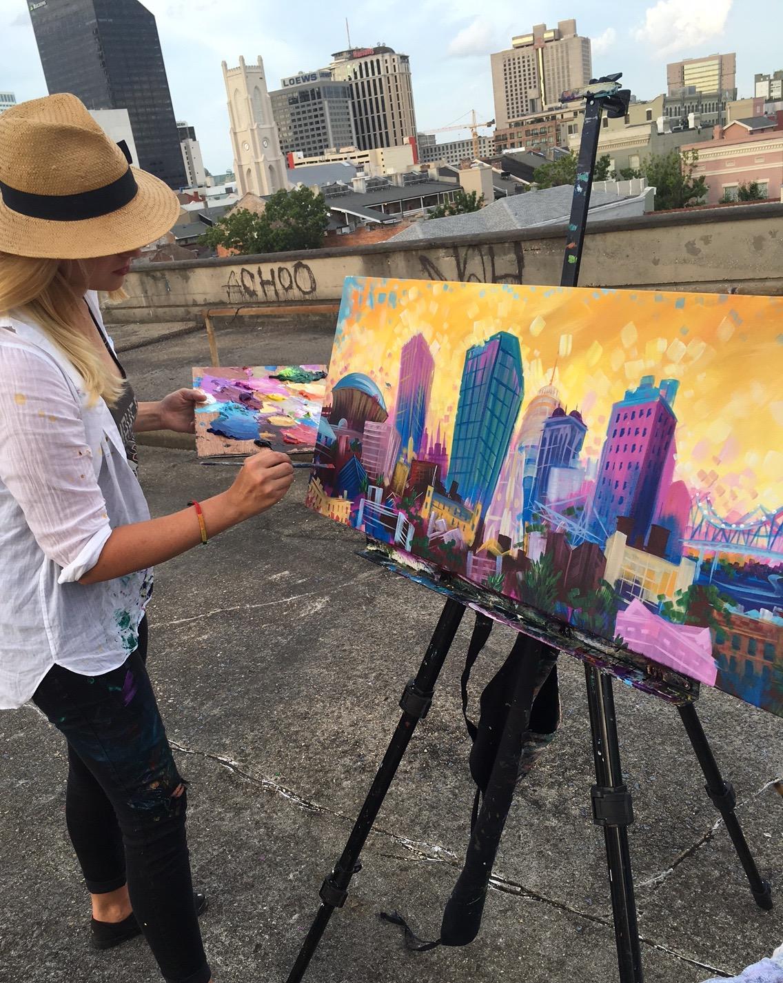 Nola Skyline LIVE Painting