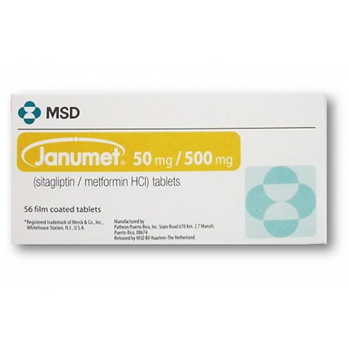 JANUMET 50MG/500MG 56 TABLETS