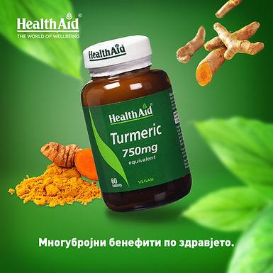 HealthAid Turmeric 750mg - 60 Vegan Tablets