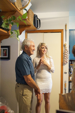 Bride and her uncle at rehearsal