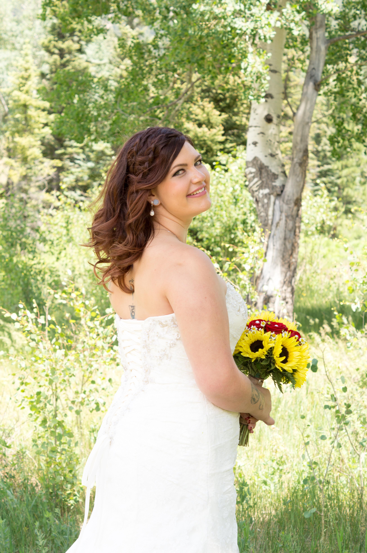 Bride glacing back