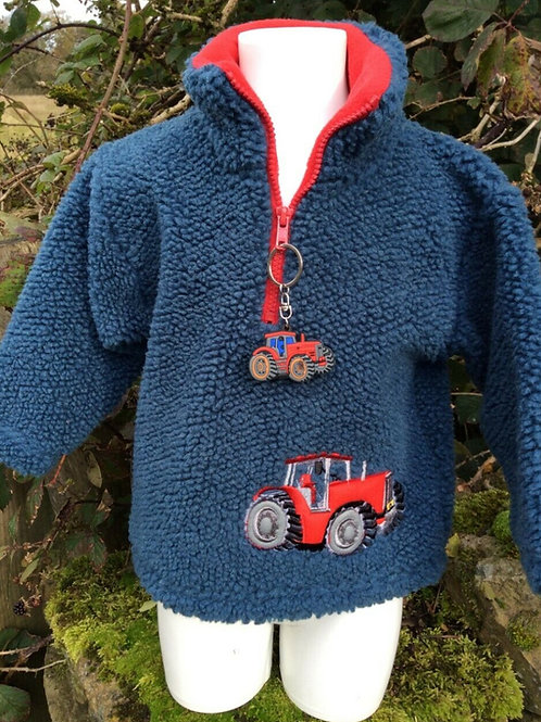 Child's Tractor Embroidered Sherpa fleece by Ramblers Clothing