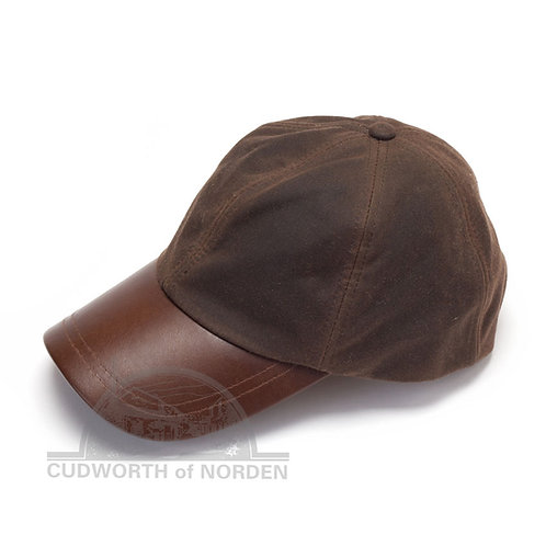 Wax Cotton Baseball Cap with Leather Peak