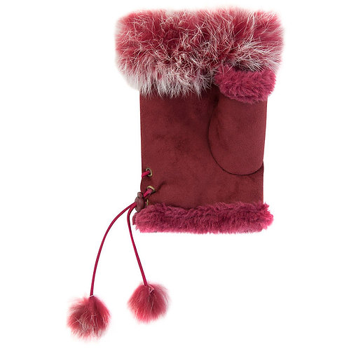 Ladies Suede Mits with Fur Trim - One Size