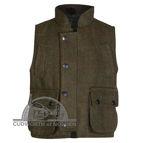 Kids Tweed  Dark Green Derby Tweed Shooting Vest