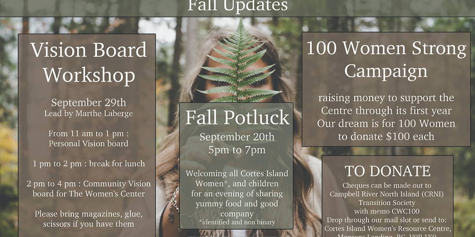 This Fall:  Potluck, Vision Board Workshop and the end of our 100 Women Strong Campaign.