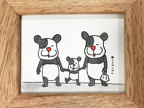 パンダの家族の帰り道。