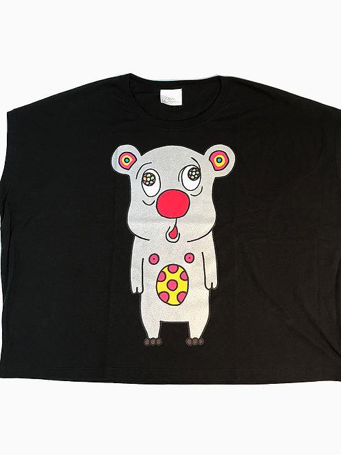 トボッチョTシャツブラック(シルバーWOMEN)