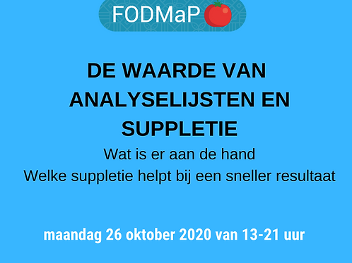 Cursus Analyselijsten en Suppletie