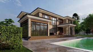 NAMAS MIČIGANAS | Amerikietiško stiliaus namas Panevėžio rajone | Architektūros vizualizacija | Surdoko architektūros studija