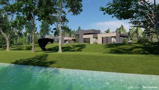 UPĖS VILA | Modernaus namo projektas Šiaurės Lietuvoje ant upės kranto | Architektūros vizualizacija | Surdoko architektūros studija