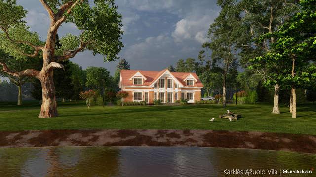 KARKLĖS ĄŽUOLO VILA   Namo projektas Karklėje netoli jūros   Architektūros vizualizacija   Surdoko architektūros studija
