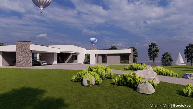 VAKARO VILA | Modernaus namo projektas ant marių kranto | Architektūros vizualizacija | Surdoko architektūros studija