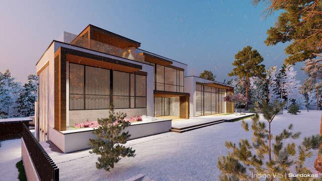 INDIGO VILA | Modernaus namo projektas | Architektūros vizualizacija | Surdoko architektūros studija