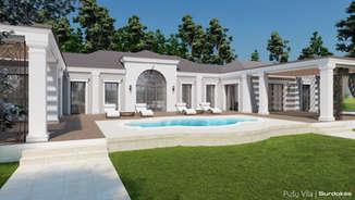 PUŠŲ VILA | Klasikinio namo projektas | Architektūros vizualizacija | Surdoko architektūros studija