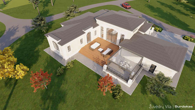 ŽUVĖDRŲ VILA   Klasikinio namo projektas   Architektūros vizualizacija   Surdoko architektūros studija