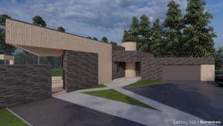 ŠALTINIŲ VILA   Modernaus namo projektas Pasvalyje   Architektūros vizualizacija   Surdoko architektūros studija