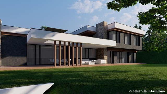 VILNELĖS VILA   Modernus projektas Vilniuje šalia Panerių parko   Architektūros vizualizacija   Surdoko architektūros studija